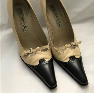 Via Spiga Leather Stiletto Wingtip Shoes 7.5